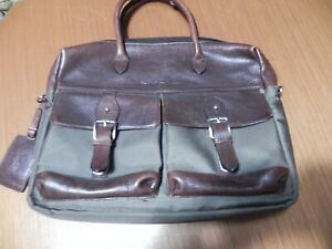 Ralph Lauren Polo ~ Men's Twill Canvas / Leather Commuter Messenger Bag