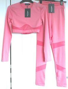 NWT Pretty Little Thing Gym Set Pink Crop Top & Leggings Workout Set XS S M L