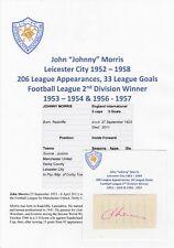 Johnny Morris Leicester City 1952-1958 Raro Original Corte/tarjeta firmada a mano