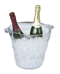 Double Acrylic Ice Bucket Wine Drinks Pail Cooler Champagne Display Clear 16pint