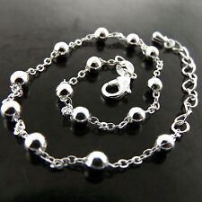 ANKLET GENUINE REAL 925 STERLING SILVER S/F SOLID LADIES BEAD LINK DESIGN 25CM