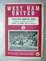1959 WEST HAM UNITED v PRESTON NORTH END, 31 Aug (League Division One Programme.