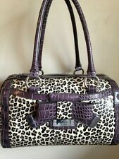 New GUESS LAURA BROWN ANIMAL PRINT WITH BOW LARGE SATCHEL Bag Purse