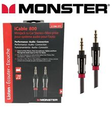 Monster® i800 Auxiliary Cable 24K Gold High Quality Car Aux Audio Lead 7ft 2m
