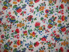 Vintage Unbranded Floral Slub Textured Cotton Fabric 3 1/2 yards
