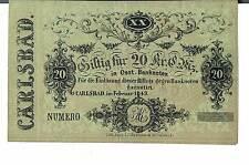 BANCONOTA AUSTRIA 20 KREUZER Carlsbad febbraio 1849 vedere la descrizione