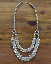 Vintage Southwest Sterling Silver Stamped Reversible Pillow Bead Necklace