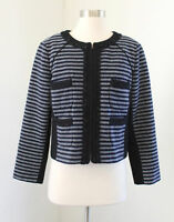J.Crew Navy Blue Black Cropped Jacket in Striped Tweed 10 Wool Blazer Zip Front