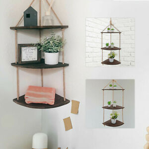 Rustic Hanging Swing Corner Shelve Solid Wood Rope Ladder Floating Shelf Storage