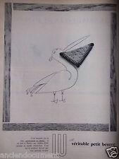 PUBLICITÉ 1957 LU LE VÉRITABLE PETIT BEURRE - LE PÉLICAN - ADVERTISING