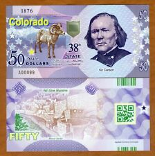USA States, Colorado, $50, Polymer, ND (2019), UNC > Kit Carson
