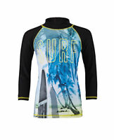 BOYS BLACK SWIMMING TOP SUNSAFE WITH SURF GRAPHIC IN AGES 4 TO 6 YEARS BNWT