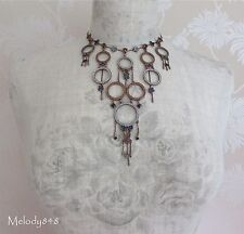 Vintage PILGRIM Necklace CIRCLE LINE Copper/Pave Swarovski Blue/Brown Topaz BNWT