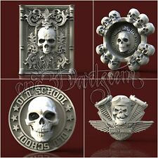 4 3D STL New Harley Skulls Models CNC Router Carving Machine Artcam aspire Cut3D