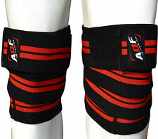 """AQF Knee Wraps Weight Lifting Bandage Straps Guard Pads Powerlifting 78"""" Pair"""