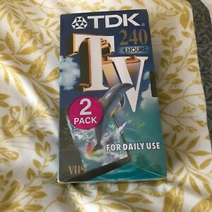 2 PACK TDK TV 240 - New & Sealed 4 hr Blank VHS Video Tapes