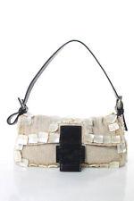 Fendi Beige Beaded Mother of Pearl Baguette Handbag