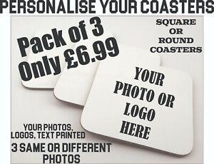 Coaster 3 Custom Set Personalised Photo Company Logo Printed Coasters Gifts