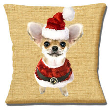 """FAWN WHITE CHIHUAHUA PUPPY SANTA HAT AND COAT CHRISTMAS 16"""" Pillow Cushion Cover"""