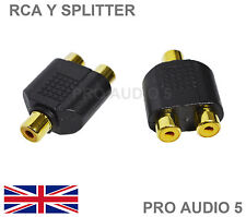 2x Gold RCA Y Splitter Female to 2 Female Adapter - Phono Splitter - Audiophile