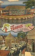 Chicago Illinois Interior Tropics Tiki Restaurant Postcard Teich roadside 5597