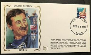 1999 NEW YORK Rangers WAYNE GRETZKY Retires SILK Cachet RETIRES FROM NHL 4/18/99
