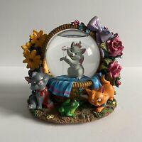 "Disney Aristocats in Basket Music Snowglobe Globe Marie ""Waltz of the Flowers"""