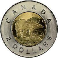 🇨🇦 2006 Canada 2 Two Dollars $2 Coin Toonie, Polar Bear, 2006 (date on bottom)
