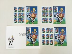 SYLVESTER & TWEETY BIRD US STAMP SHEET 32 CENT & FIRST DAY ISSUE  LOT OF 4