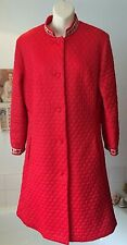 vintage M&S 1960's bright red quilted Nylon dressing gown mandarin collar 38/40""