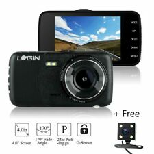 4 in Car DVR Dash Cams Camera HD 1080p Front Rear Video Recorder G-sensor Black