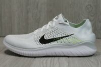 56 Nike Free RN Flyknit 2018 White Black Running Shoes 942838-100 Mens 11.5 12.5