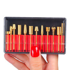 MAKARTT 12Pcs 3/32'' Electric Gold Carbide Nail Art Tool Drill Bit Set