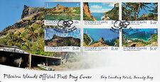 Pitcairn Inseln 2013 FDC Schiff Landung Punkt Bounty Bay 6v Set Cover Landschaften
