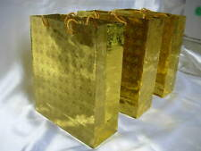 12 Gold Metallic Paper Carrier/ Gift Bags 15cmx11x6cm