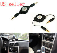 3.5mm car audio aux retractable cable lead for ipod shuffle mp3 iphone black new