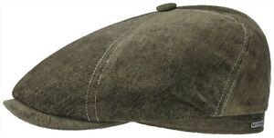 Stetson Bakerboy Flatcap Hat Cap Brooklin 5 Olive Velvet Trend New