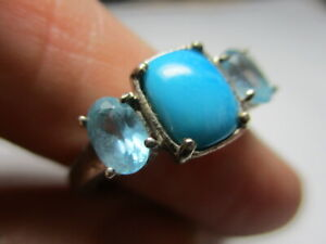 STERLING SILVER 925 ESTATE STS BLUE TURQUOISE TOPAZ ACCENTS RING SIZE 8