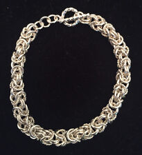 Handmade Sterling Silver Chainmaille Byzantine Bracelet with a Twist. 7 Inches