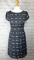 Poem By Oliver Bonas Black and White Bird On A Wire Print Shift Dress Size 8 VGC