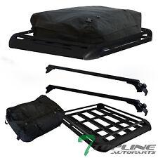 """55"""" BLACK ALUMINUM WINDOW ROOF RAIL RACK CROSS BARS+CARGO CARRIER BASKET+BAG T02"""