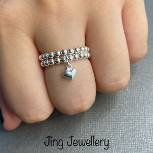 Sterling Silver beaded Stretch Ring Set, Plain Beaded Ring And Heart Drop Ring