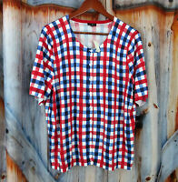 Nwt New Talbots Womens Red White Blue Button Sweater Top Sz 2X Plus Size