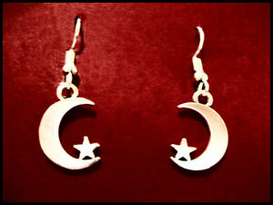 CRESCENT MOON AND STAR EARRINGS - Surgical Steel hooks