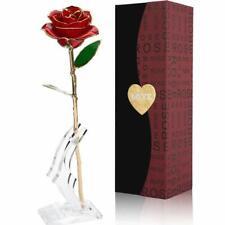 Rose Éternelle Rouge Plaqué Or 24K Fleur avec Boite Cadeaux Décoration Intérieur