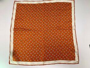 Salvadore Ferragamo 100% Silk Pocket Square Classy Orange Print