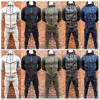 ✅Mens Camouflage Camo Plain Tracksuit Slim Fit Joggers Pants Bottoms & Zip Hoody