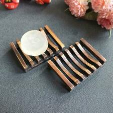 Natural Wooden Soap Dish Drain Tray Holder Storage Rack Plate Box Home Bathroom