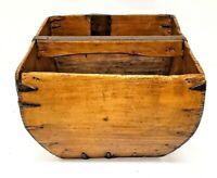 Antique Rice Measure Baskets w/ Handle Set of 2 Rustic Harvest Bucket Home Decor