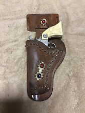 Vintage Kilgore Ranger Toy Cap Gun With Boyville Cowhide Leather Jeweled Holster